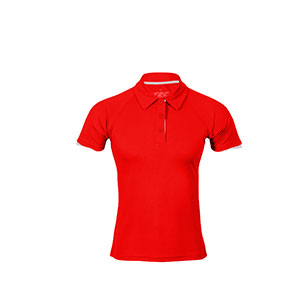 POLO 100% TRANSPIRABLE MUJER TEC-35 RED-WHITE